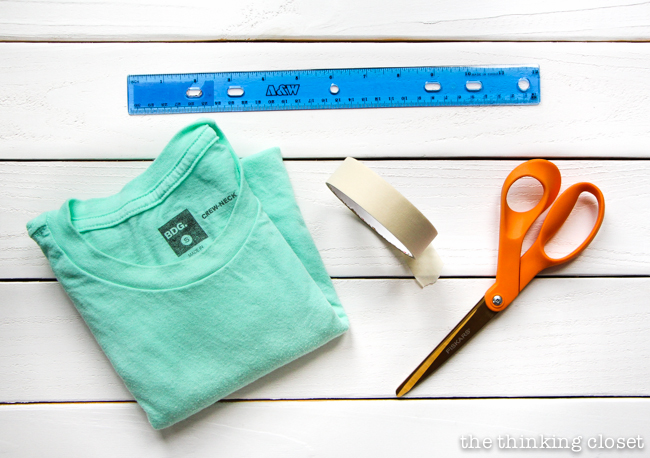 Supplies you'll need to create your 10 Minute Fringe Infinity T-Shirt Scarf - - one of the quickest, easiest, and most fun DIY projects you'll ever do!