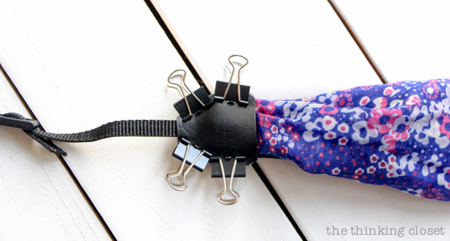 "Prepping ""The Bermuda Triangle.""  Just another step in the DIY Scarf Camera Strap Tutorial: Upcycle a scarf into a snazzy camera strap that will quickly become your new favorite accessory. This sewing tutorial will walk you through each step of the fun refashion. Happy Scarf Week 2015!"