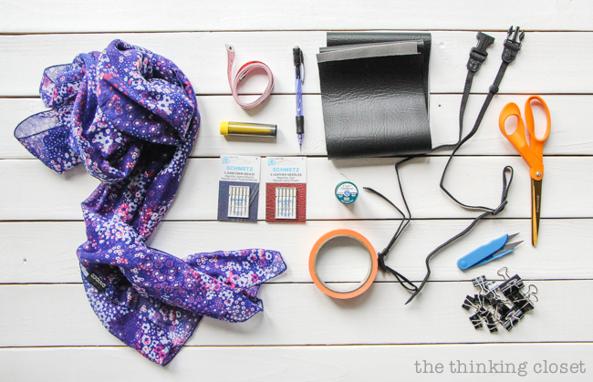 SUPPLIES for a DIY Scarf Camera Strap: Upcycle a scarf into a snazzy camera strap that will quickly become your new favorite accessory. This sewing tutorial will walk you through each step. Just another inspirational project idea from the 2nd annual Scarf Week!