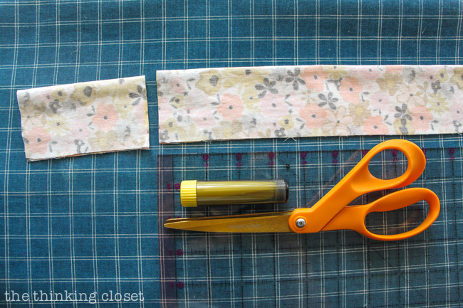 Cutting the fabric in order to create your very own DIY Wire Head Scarf.  Another inspirational tutorial from Scarf Week 2015.  Such a fun beginner sewing tutorial!