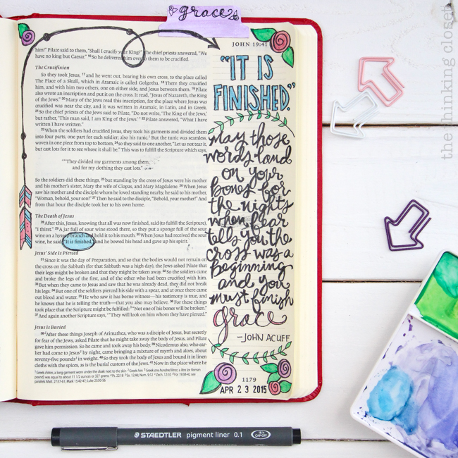 """It Is Finished."" Another stop on the Flip-Through Video Tour of My Journaling Bible 