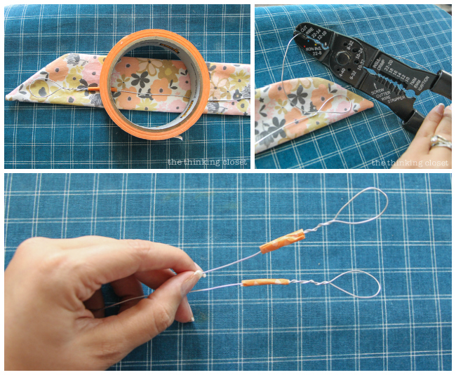 Looping the 20 gauge wire. Another step in creating your very own DIY Wire Head Scarf, an inspirational tutorial from Scarf Week 2015.  Such a fun beginner sewing project anyone can do!