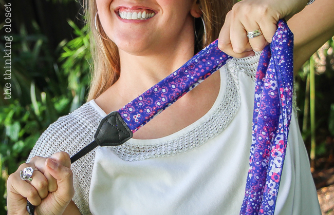 Strength test!  DIY Scarf Camera Strap Tutorial: Upcycle a scarf into a snazzy camera strap that will quickly become your new favorite accessory. This sewing tutorial will walk you through each step of the fun refashion. Happy Scarf Week 2015!
