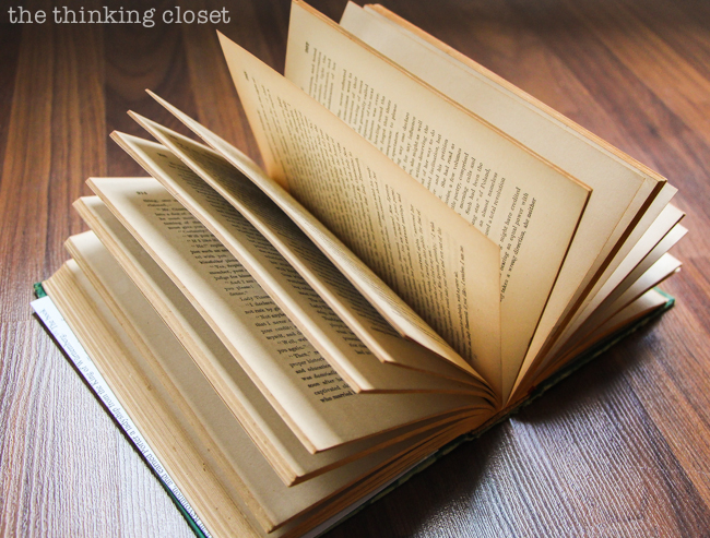 DIY Bookmark Wedding Favors - - perfect for the book-lovin' bride and groom! And you can't beat a price-point of 50 cents per bookmark! Here's the vintage book we used for this DIY project!