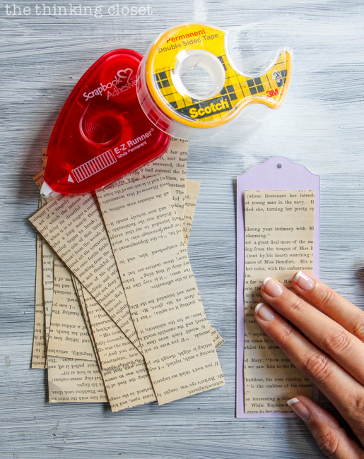 DIY Bookmark Wedding Favors - - perfect for the book-lovin' bride and groom! And you can't beat a price-point of 50 cents per bookmark! Using E-Z Runner Permanent Tape to adhere the book page rectangles to the bookmarks.