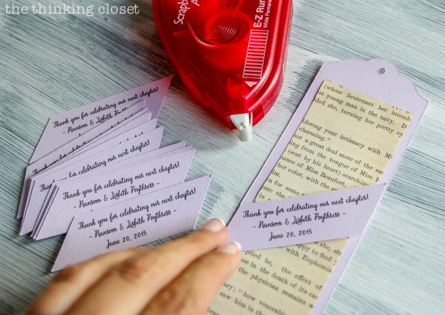 """DIY Bookmark Wedding Favors - - perfect for the book-lovin' bride and groom! And you can't beat a price-point of 50 cents per bookmark! Use E-Z Runner Permanent Tape to adhere the """"sleeves"""" across the front of the bookmarks."""