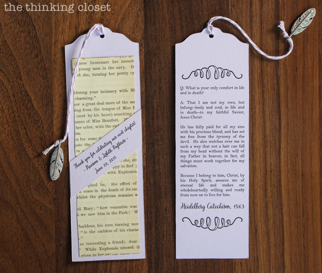 D.I.Y. Bookmark Wedding Favors — the thinking closet