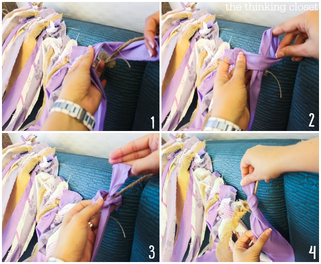 D.I.Y. Shabby Chic Fabric Photo Booth Backdrop   Step by step photo tutorial - - knotting instructions!