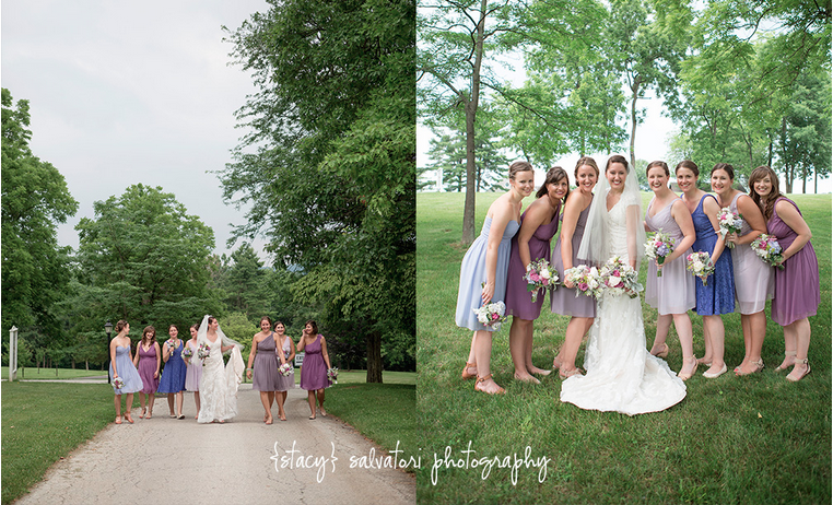 Bride & Bridesmaids in a variety of muted purple tones!