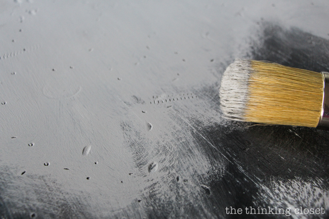 The Beginner's Guide to Distressing with Annie Sloan | It turns out that distressing with Chalk Paint® Decorative Paint by Annie Sloan doesn't have to be stressful at all! Here's a detailed tutorial for how to age and distress a piece of furniture to give it that time-worn look, rich with character. Here's a photo of the slap-dash painting method...so easy!