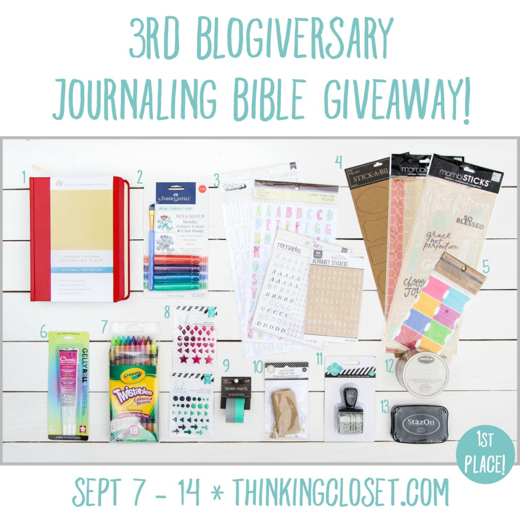 3rd Blogiversary Journaling Bible Giveaway at thinkingcloset.com | 3 sweet prizes for 3 winners, with the top prize being a new E.S.V. Crossway Journaling Bible plus 12 of Lauren's favorite Journaling Bible supplies! Runs September 7 - 14 so hurry and enter now!
