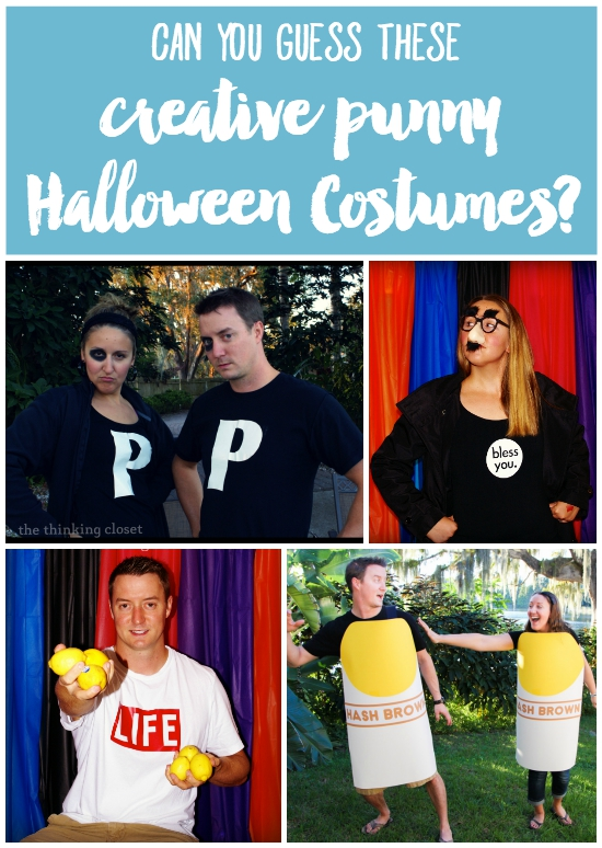 Can you guess these Creative Punny Halloween Costumes? They're some real groan-inducing knee-slappers, let me tell ya. Well, click through to find out the answers, and then explore this EPIC list of 20 Last-Minute Halloween costume ideas. It'll be tons of pun!