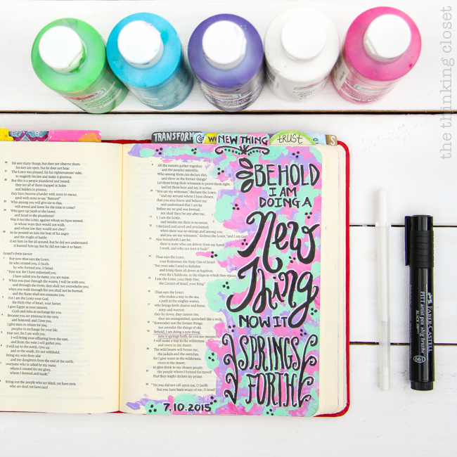 "My 20 Favorite Journaling Bible Supplies | The Gelly Roll White Paint Pen is great for accenting or ""shadowing"" lettering done with the Faber-Castell Big Brush Pen. The effect is magnificent! Especially atop acrylic paint."