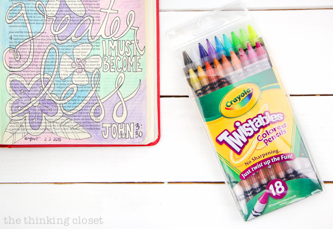 My 20 Favorite Journaling Bible Supplies | Crayola Twistables are great colored pencils to use in your Journaling Bible - - their vibrant colors and dull tips make for easy blending and shading. Also, you never have to sharpen them. Just twist!