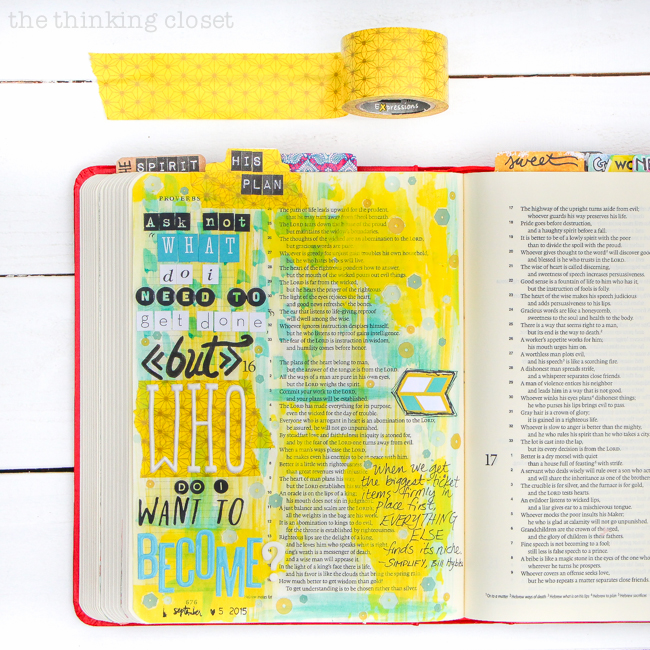 My 20 Favorite Journaling Bible Supplies | A strip of washi tape can no only help adhere a tap to the top of the page, but it can provide a playful backdrop to the rest of my design!
