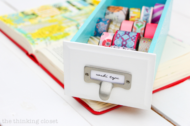 My 20 Favorite Journaling Bible Supplies | My mini drawer full of washi tape comes in handy when I need an added embellishment or pretty way to adhere my tabs. It no longer lives in my desk but near my Journaling Bible supplies where it gets constant use.