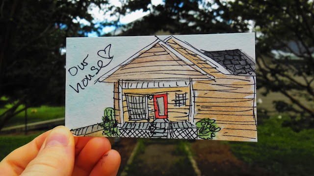 Miniature Watercolor House by Maggie's Butterfly Kisses, Featured in The Thinking Closet's Summer 2015 Reader Showcase.