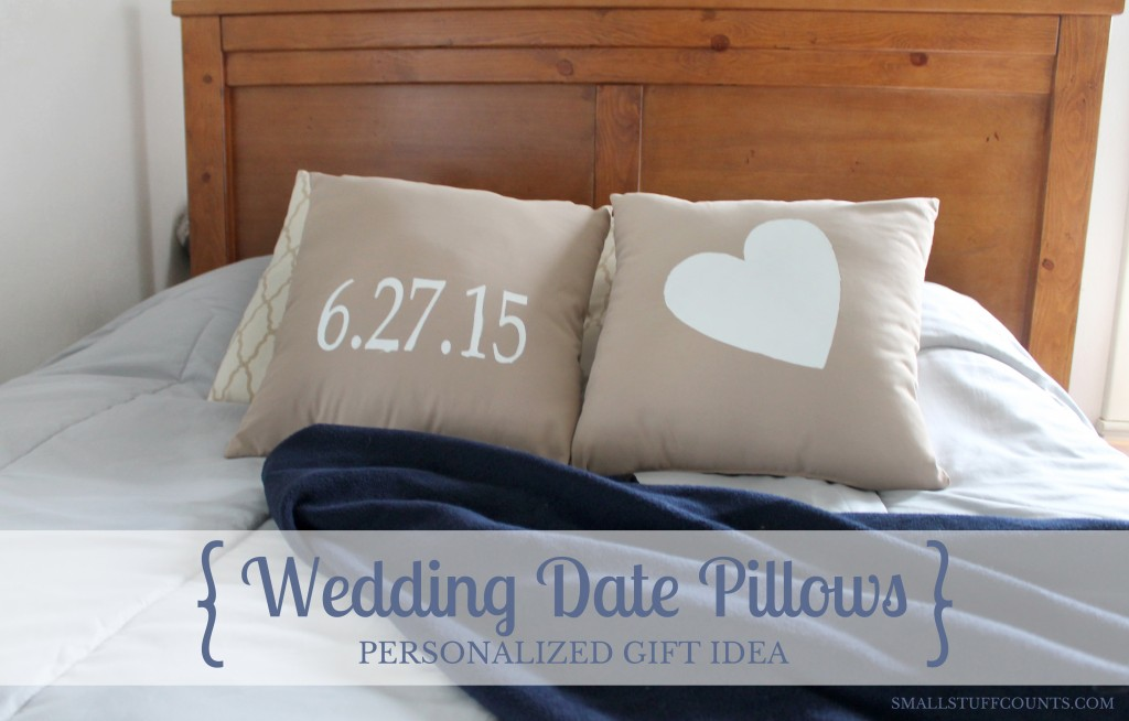 Wedding Date Pillows by The Small Stuff Counts, Featured in The Thinking Closet's Summer 2015 Reader Showcase.