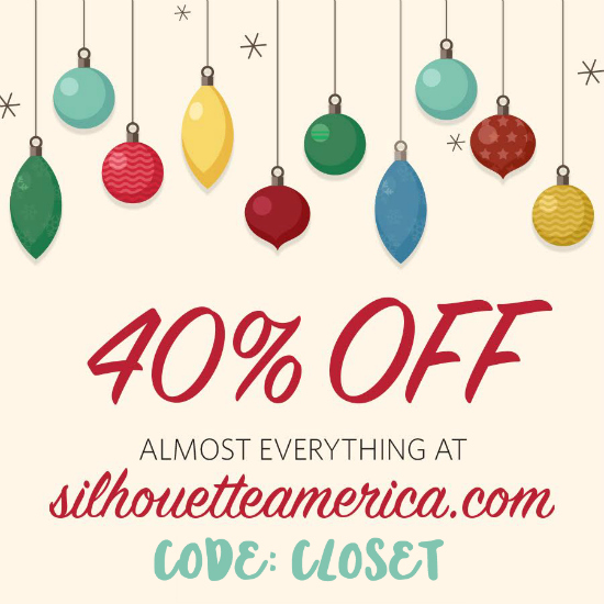 EPIC Holiday Sales at Silhouette America: 11/26 - 12/4 Use code CLOSET at checkout to save 40% off all supplies...and then join our Silhouette Challenge Facebook Group for support, troubleshooting tips, and loads of inspiration! via thinkingcloset.com