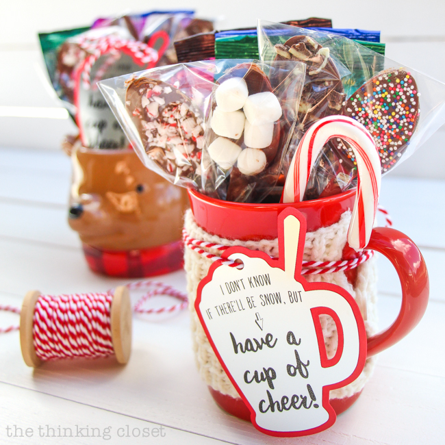 Hot Chocolate Drink Kit Gift with FREE Silhouette Cut File for Gift Tags | Pointers for how to print-and-cut custom gift tags on silver foil with your Silhouette, tips for creating yummy chocolate dipping spoons, plus a whole collection of holiday projects to tackle with your Silhouette machine! via thinkincloset.com