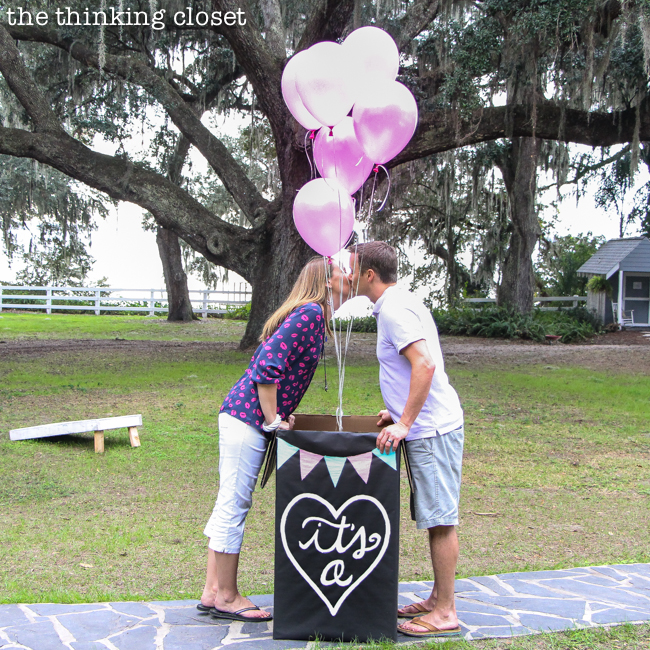 """It's a...GIRL!"" Our Balloons-in-a-Box Gender Reveal! How we pulled it off, tips we'd offer, and way more details that you ever wanted to know. {Tee hee.}"