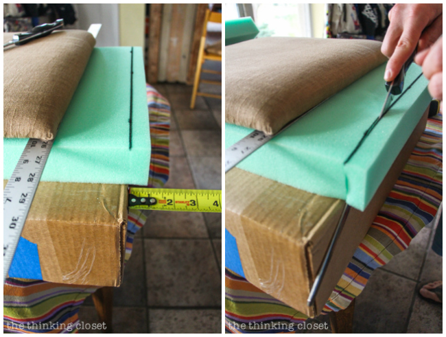 "How to Reupholster a Dining Chair Seat: DIY Tutorial full of tips and tricks. Gotta love this ""no-mess method"" that eliminates the most grueling steps of any reupholstery project! Keep the original seat intact and simply add a new cushion and fabric atop it! Easy as pie. And with a bread knife, the foam cuts smooth as butta'."