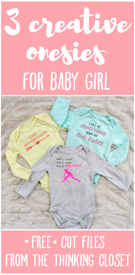 3 Creative Onesies for Baby Girl & FREE Silhouette Cut Files | There's really no better baby shower gift than a custom, personalized onesie! So, brace yourself for 3 adorable new onesie designs, each of which can be adapted to suit the parents and the baby (girl, boy, or gender neutral). And this DIY tutorial has tons of great tips for working with heat transfer vinyl, too! Nab these free files and happy creating.