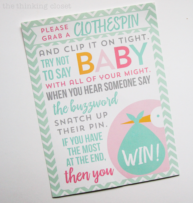 Charming Mint & Gray Baby Shower | Inspiration for planning a meaningful baby shower for a mom-to-be with creative ideas for decor, food, games, activities, a guest book, favors, and more! Have you heard of this clothespin game? Heaps of fun during the mingle time!