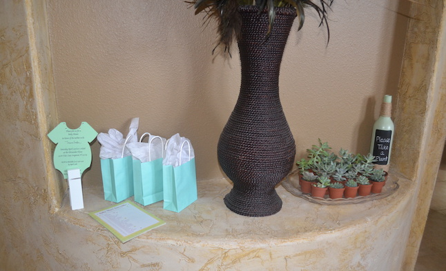 Charming Mint & Gray Baby Shower | Inspiration for planning a meaningful baby shower for a mom-to-be with creative ideas for decor, food, games, activities, a guest book, favors, and more! Here's a glimpse at the mini succulent favors that guests got to take home! Perfect for the mint color scheme.