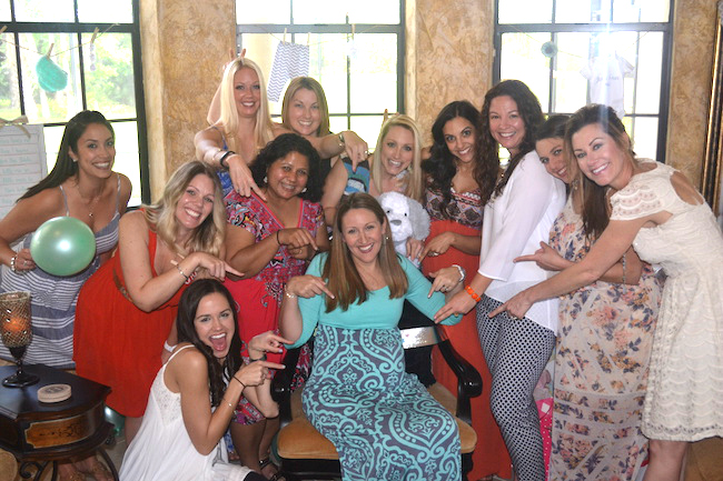Charming Mint & Gray Baby Shower | Inspiration for planning a meaningful baby shower for a mom-to-be with creative ideas for decor, food, games, activities, a guest book, favors, and more! Heres a shot of the happy throng....