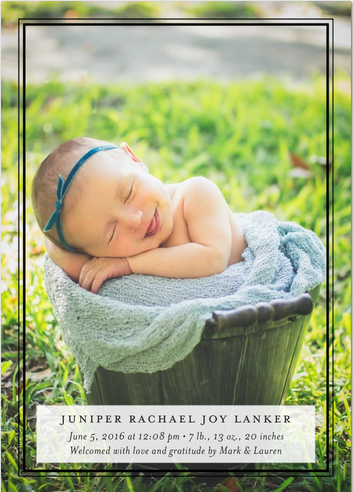 Newborn Birth Announcement with Tiny Prints | Here's the front of our announcement...just a smiling baby in a bucket!