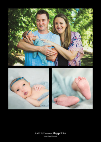 Newborn Birth Announcement with Tiny Prints | Here's the back of our announcement...a trio of photos from Juniper's Newborn Photography Session.
