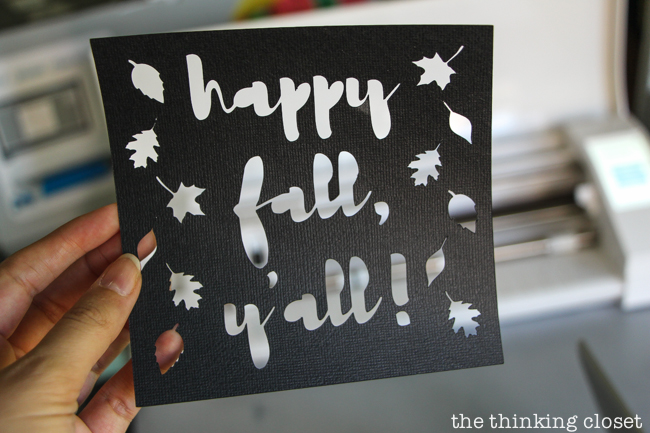 """""""Happy Fall, Y'all!"""" Watercolor Art: A Silhouette Cameo 3 Tutorial - After peeling up my adhesive backed cardstock, I applied it to my watercolor background for a vibrant, autumnal finished piece!"""