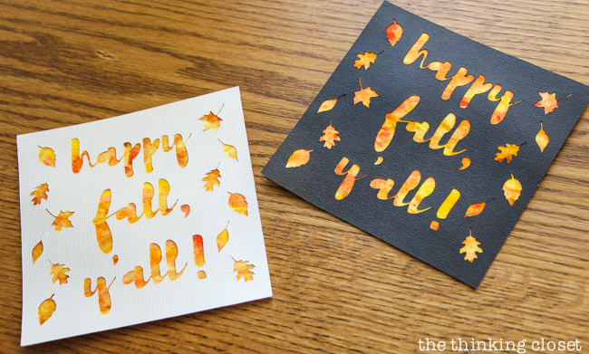 """Happy Fall, Y'all!"" Watercolor Art: A Silhouette Cameo 3 Tutorial - After peeling up my adhesive backed cardstock, I applied it to my watercolor background for a vibrant, autumnal finished piece! Here are the black and white renditions for two unique, different looks."