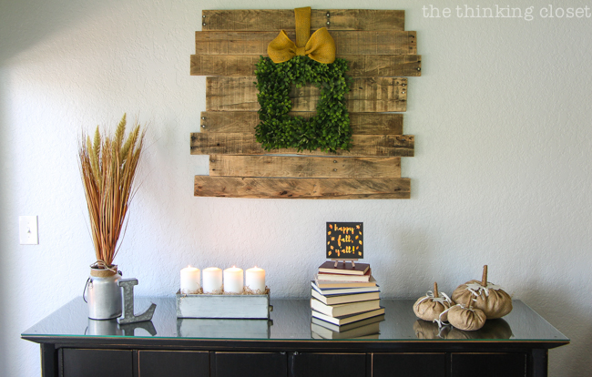 """""""Happy Fall, Y'all!"""" Watercolor Art: A Silhouette Cameo 3 Tutorial - Here's my finished mini-sign on display on our fall """"fantel."""" If that doesn't put you in the mood for autumn, I don't know what will!"""