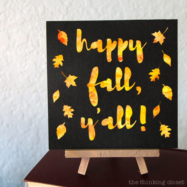 Happy fall yall watercolor art a silhouette cameo 3 tutorial watercolor art a silhouette cameo 3 solutioingenieria Images