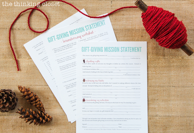 The Gifter's Holiday Toolkit: 5 Day Challenge! FREE printable worksheets and email inspiration designed to set you up for a season of stress free, joy-filled giving. Here's a sneak peek at day 1: The Gift-Giving Mission Statement