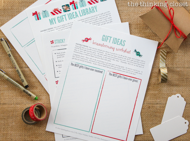 The Gifter's Holiday Toolkit: 5 Day Challenge! FREE printable worksheets and email inspiration designed to set you up for a season of stress free, joy-filled giving. Here's a sneak peek at day 2: My Gift Idea Library.