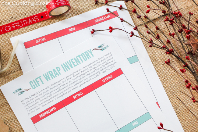 The Gifter's Holiday Toolkit: 5 Day Challenge! FREE printable worksheets and email inspiration designed to set you up for a season of stress free, joy-filled giving. Here's a sneak peek at day 5: Gift Wrap Inventory.