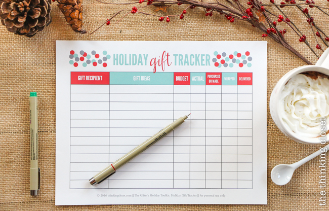 The Gifter's Holiday Toolkit: 5 Day Challenge! FREE printable worksheets and email inspiration designed to set you up for a season of stress free, joy-filled giving. Here's a sneak peek at day 3: Holiday Gift Tracker.