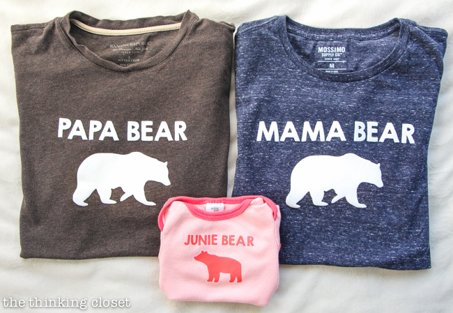 Papa Bear, Mama Bear, Baby Bear T-Shirt Trio Gift Idea | Such a meaningful gift for a new family of three! Think baby shower, mother's day, father's day, Christmas, birthday...any occasion where you want to celebrate new parents or the arrival of their precious little baby bear! Silhouette tutorial includes tips and tricks for working with heat transfer vinyl. It's not as intimidating as you think!