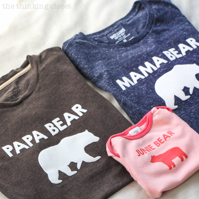 9dae0677a Papa Bear, Mama Bear, Baby Bear T-Shirt Trio Gift & Silhouette Giveaway! -  the thinking closet