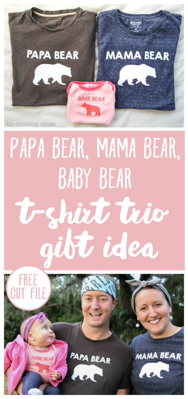 Papa Bear Mama Bear Baby Bear T Shirt Trio Gift