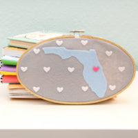State Map Hoop Art: How to Cut Felt with Your Silhouette Curio
