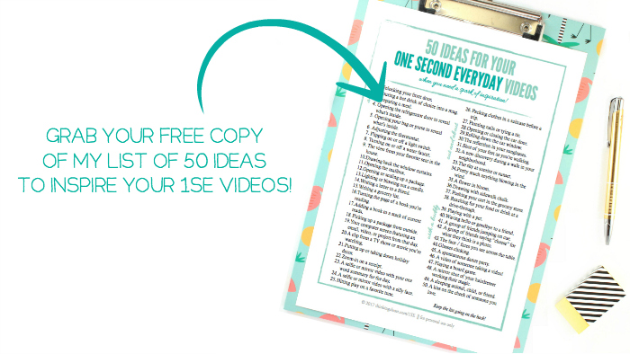 "Grab a FREE printable download of my list of 50 ideas for your ""1 Second Everyday"" videos (for when you need a spark of inspiration). Plus, check out the post for my tips and tutorial for using the 1SE app!"