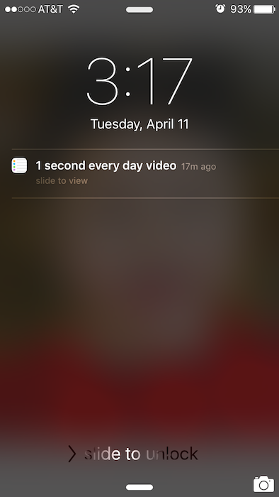 "I created a notification on my phone to remind me to capture my ""one second"" for that day! This was the key to my success at turning this documentation project into a daily practice."