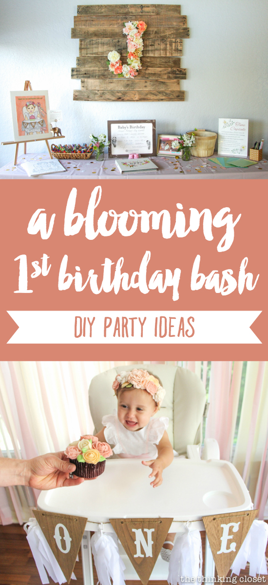 A Blooming First Birthday Bash, inspired by spring flowers in pink, blush, and white. DIY party ideas for a woodland floral-themed celebration, spring fling, or botanical garden party!