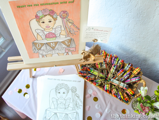 Custom Coloring Page Party Favor for a Blooming First Birthday Bash, inspired by spring flowers in pink, blush, and white. DIY party ideas for a woodland floral-themed celebration, spring fling, or botanical garden party!