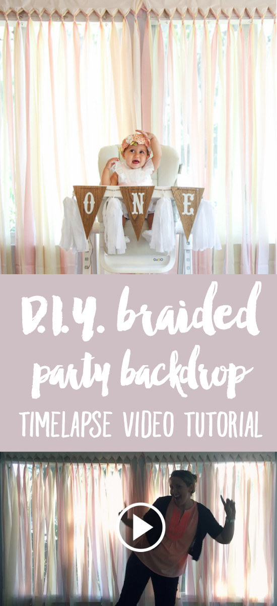 DIY Braided Party Backdrop: Timelapse Video Tutorial | Another creative project from a Blooming First Birthday Bash, inspired by spring flowers in pink, blush, and white. DIY party ideas for a woodland floral-themed celebration, spring fling, or botanical garden party! Gotta love the price point on this one (under $10!).