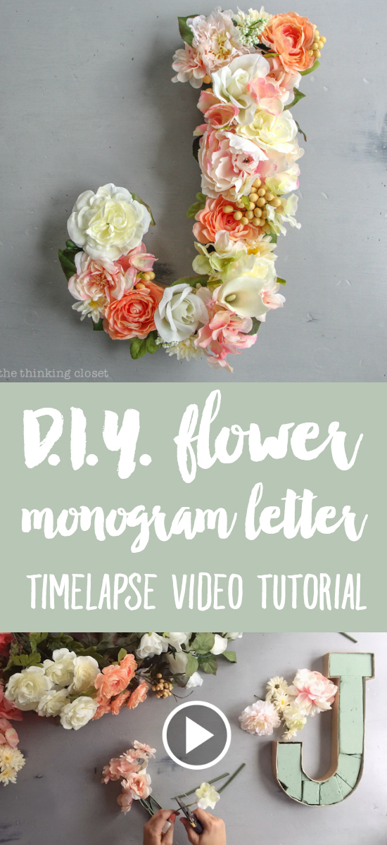 DIY Flower Monogram Letter for a Blooming First Birthday Bash, inspired by spring flowers in pink, blush, and white. Such a fun DIY party idea for a woodland floral-themed celebration, spring fling, or botanical garden party! Love the timelapse video tutorial!